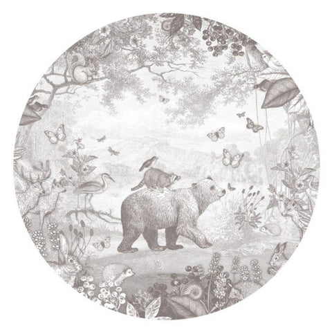 Wall Sticker Forest Animals Pencil Grey