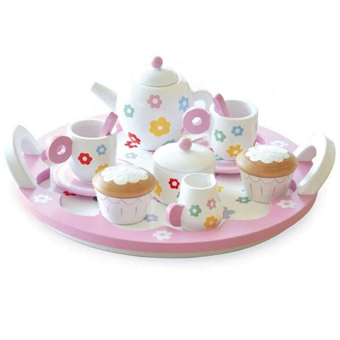 Wooden Toy Flower Party Tea Set