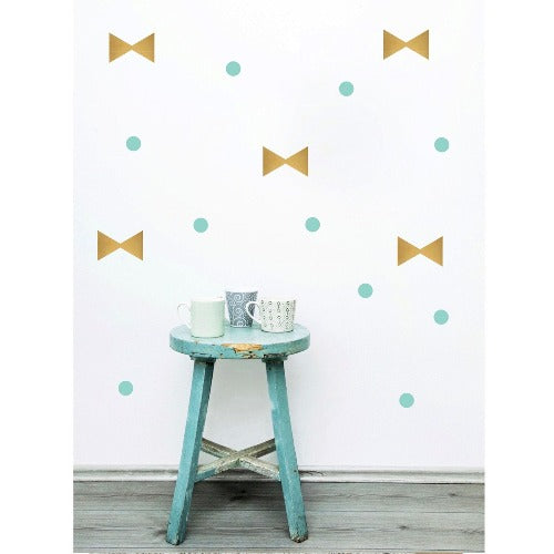 Pom Wall Stickers Bow Dot Gold Mint