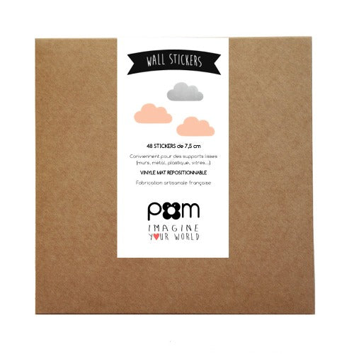 Pom Wall Stickers Cloud Silver Pink