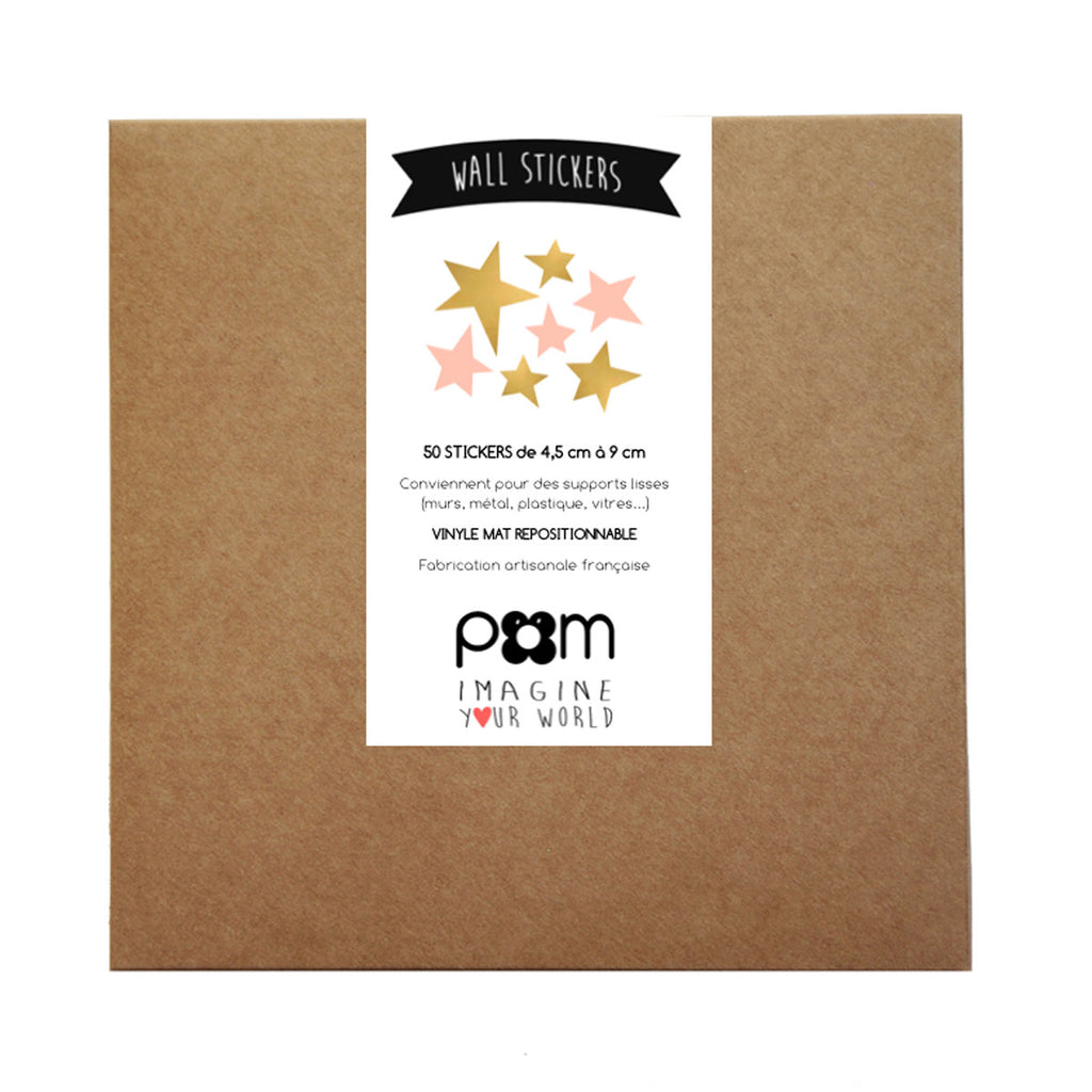 Pom Wall Stickers Star Gold Pink