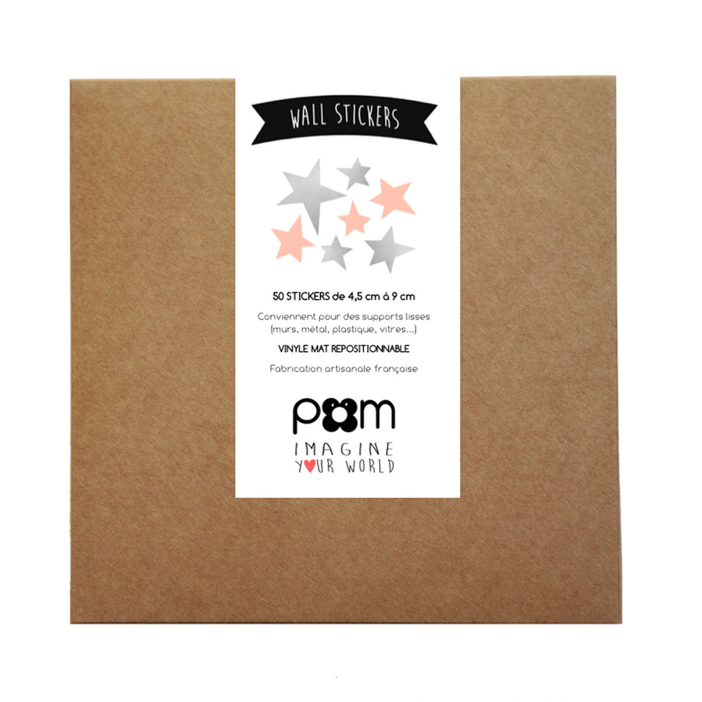 Pom Wall Stickers Star Silver Pink