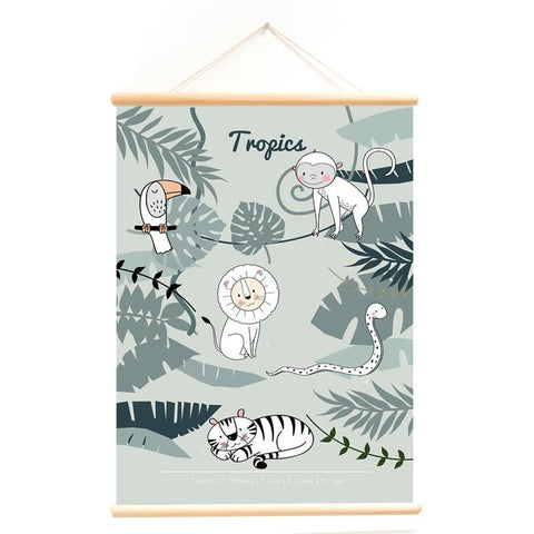 Poster With Hanger Wild Animals Green