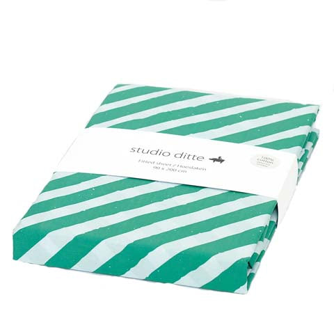Fitted Sheet Stripes  Green - Light Blue
