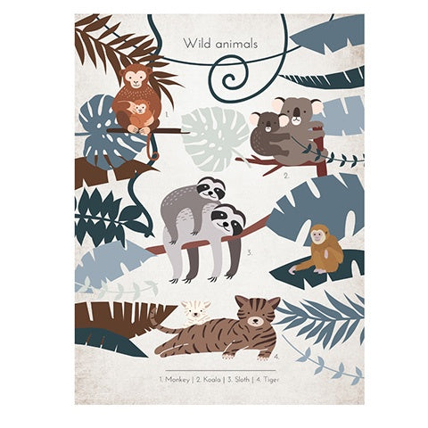 Poster 50 x 70 Wild Animals Sloth