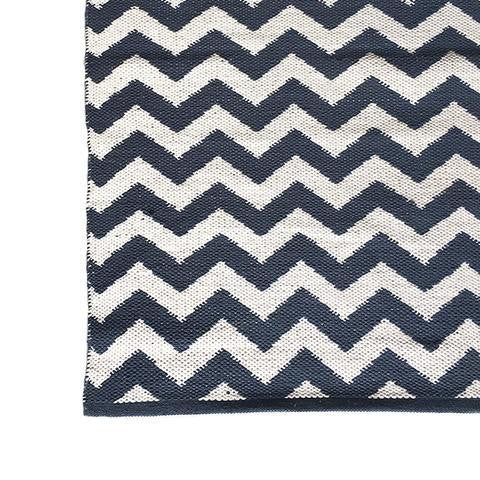 DEER Cotton Rug Chevron Petrol Blue