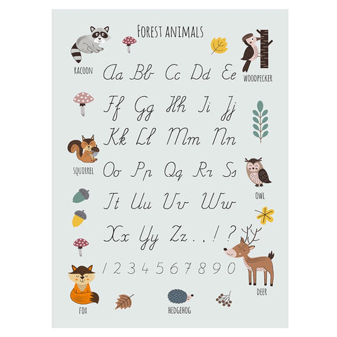 Poster 50 x 70 Forest Animals Alphabet Blue