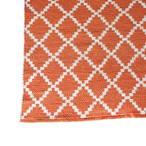 DEER Cotton Rug Geometric Orange