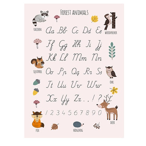 Poster 50 x 70 Forest Animals Alphabet Pink