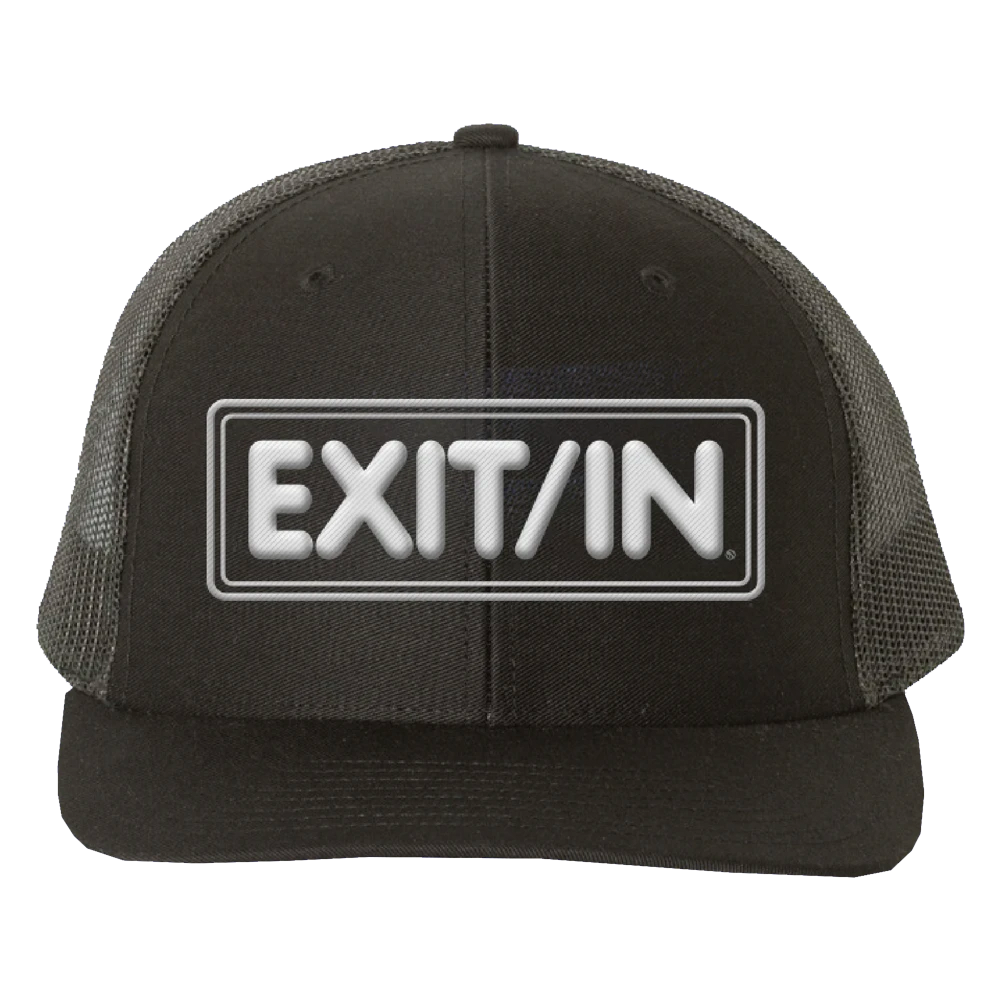 Embroidered Exit/In Black Trucker Hat