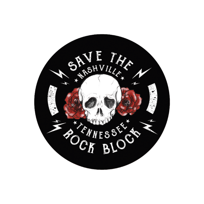 Save The Rock Block Skull Sticker
