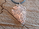 copper arrowhead necklace with eagle
