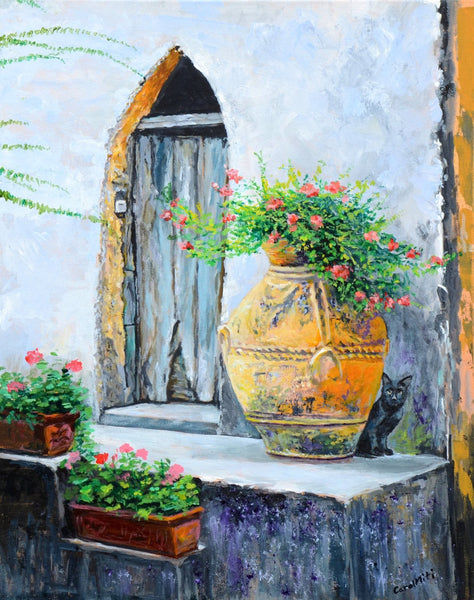 Custom Architectural Painting on Canvas with Acrylic – Italian Doorway