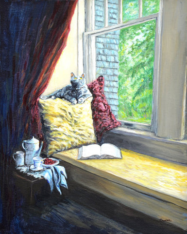Custom Pet Portraits on Canvas with Acrylic – The Little Lion at the Window, NiciArt