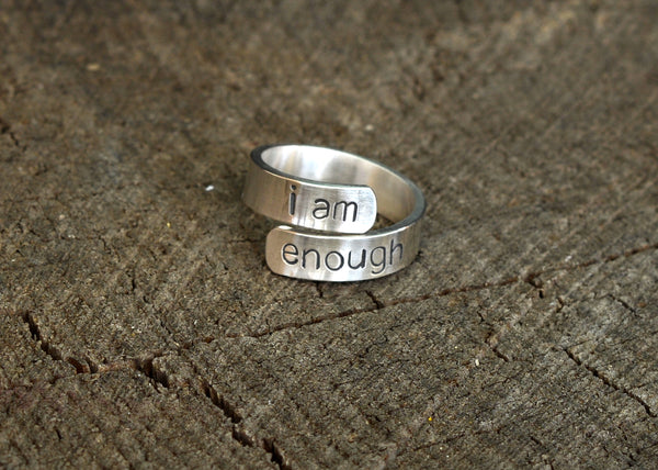I am Enough Inspirational Message Ring in Sterling Silver