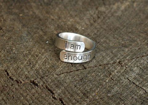 I am Enough Inspirational Message Ring in Sterling Silver, NiciArt