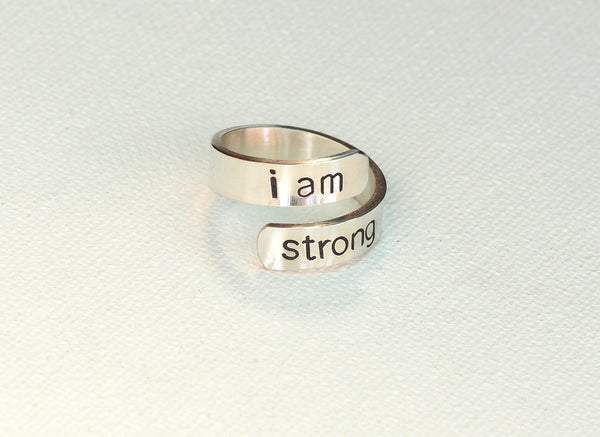 I am Strong Sterling Silver Wrap Ring for Inspiration