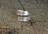 I am Strong Sterling Silver Wrap Ring for Inspiration, NiciArt