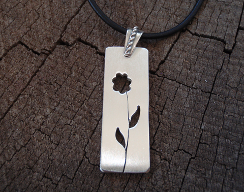 simple silver flower necklace, NiciArt