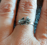 dainty fish ring made from sterling silver