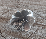 Sterling silver flower and bee ring
