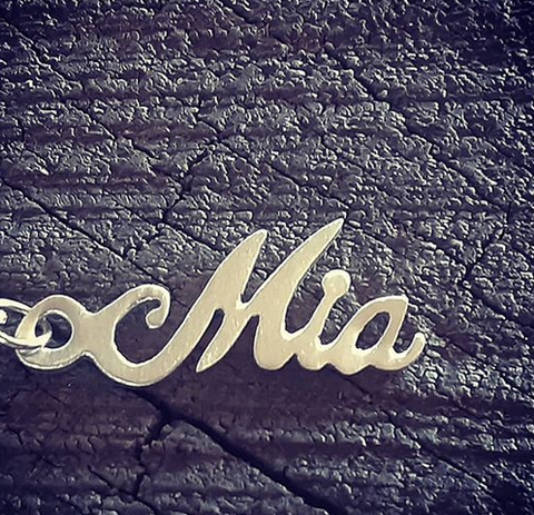 Sterling silver calligraphy name necklace - dainty