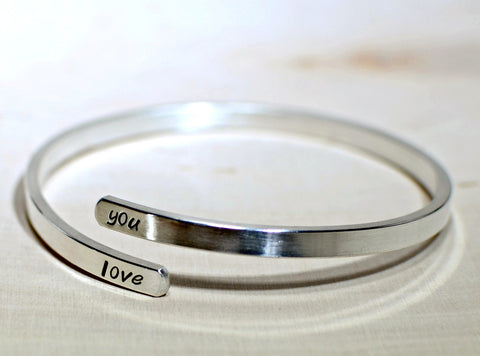 Adjustable Handstamped Sterling Silver Bangle with Personalized Messages, NiciArt