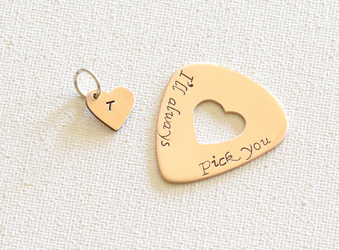 I'll always pick you bronze guitar pick and heart charm set