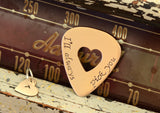 I'll always pick you bronze guitar pick and heart charm set, NiciArt