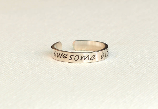 Awesome Bitch Sterling Silver Toe Ring, NiciArt