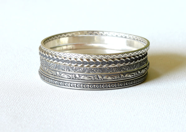 Sterling Silver Stackable Bangle Set with geometric patterns and florals