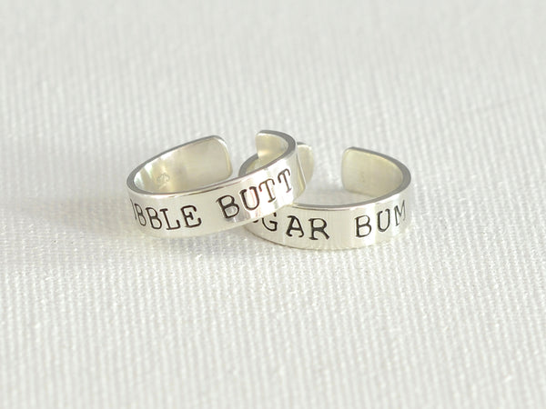 Bubble Butt and Sugar Bum Sterling Silver Toe Ring Set, NiciArt