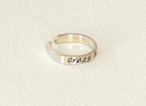 Crazy Bitch Sterling Silver Toe Ring, NiciArt