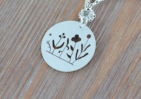 Blooming Botanical Modern Sterling Silver Necklace with the Elegance of Simplicity, NiciArt