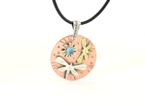 Dragonflies and Blooming Flower Summer Themed Nature Necklace with Topaz and Sterling Silver, NiciArt