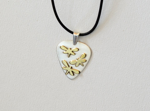 Dragonfly Artisan Sterling Silver Guitar Pick Necklace as a Fusion of Visual Art and Music, NiciArt