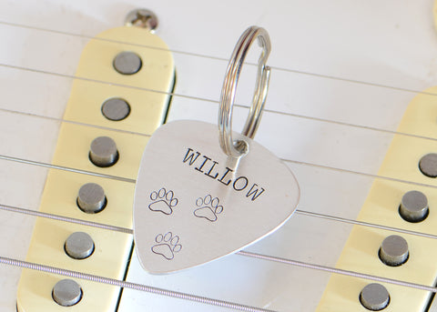 Aluminum Guitar Pick Dog Tag for a Rock'n Pup, NiciArt