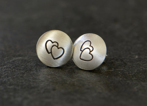 Double Hearts on Sterling Silver Stud Button Earrings, NiciArt