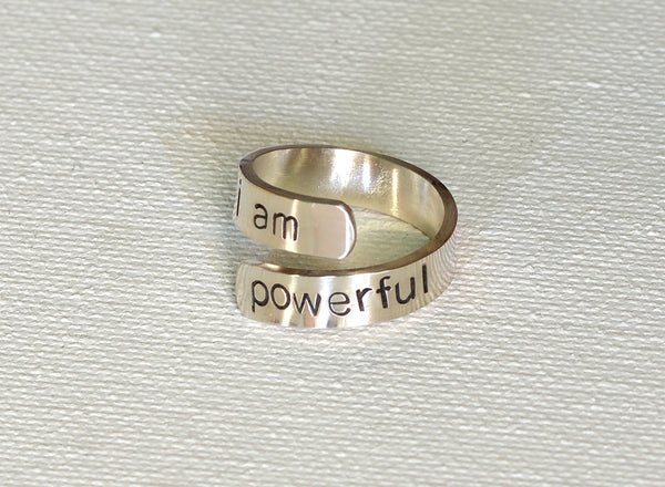 I am Powerful Inspirational Wrap Ring in Sterling Silver