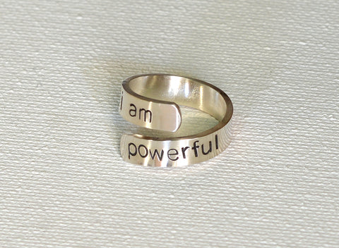 I am Powerful Inspirational Wrap Ring in Sterling Silver, NiciArt