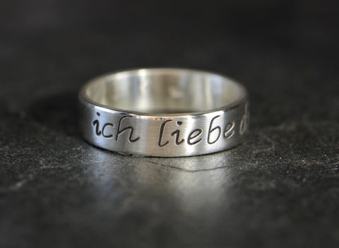 "Ich Liebe Dich Sterling Silver Ring – 925 ""I love you"" in German Ring, NiciArt"
