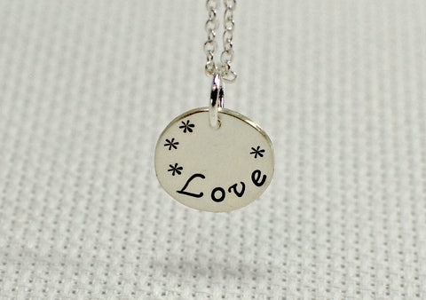 "Sterling silver charm necklace handstamped with ""Love"", NiciArt"