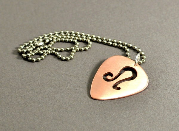 Personalized copper zodiac guitar pick pendant