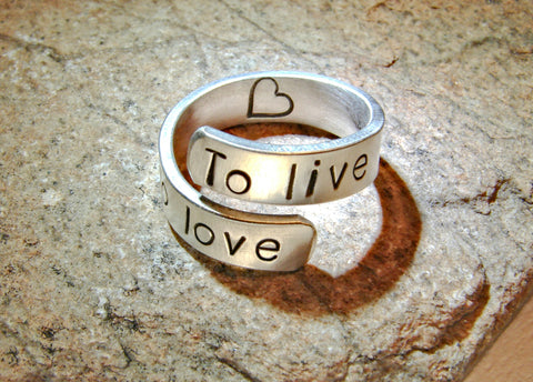 To live To love sterling silver bypass ring, NiciArt