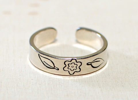 Sterling Silver Toe or Adjustable Finger Ring with Flower and Leaf Design, NiciArt