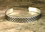 Modern Cross Weave Patterned Sterling Silver Cuff Bracelet, NiciArt