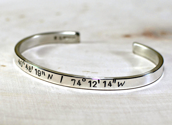 Sterling silver latitude longitude cuff bracelet with personalized coordinates