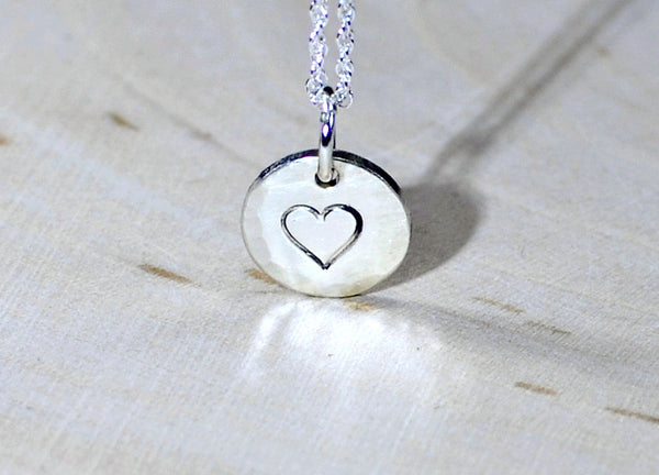 Sterling silver charm disc pendant with small heart