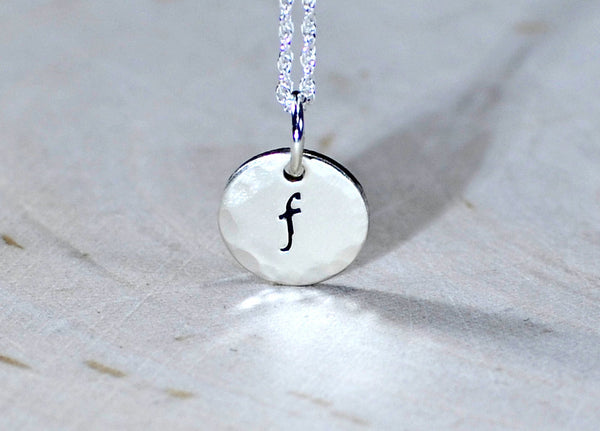 Dainty Sterling Silver Initial Charm Necklace with Hammered Border