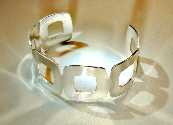 Artisan Silver Cuff Bracelet with Unique Square Design, NiciArt